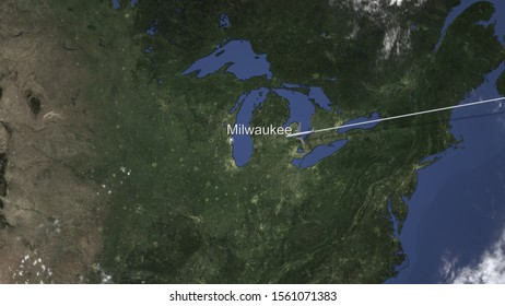 Airplane flying to Milwaukee, United States on the map, 3D rendering
