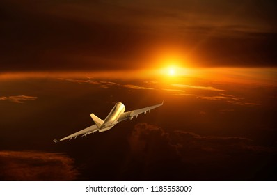 Airplane flying over the cloud sunrise , 3d rendering