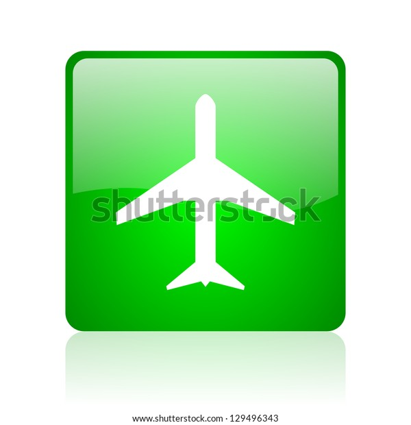 airplane green square web icon on white background