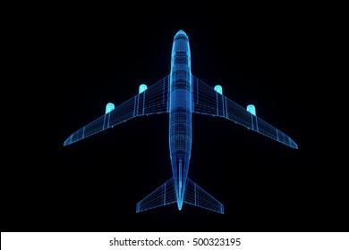 Airplane in Hologram Wireframe Style. Nice 3D Rendering