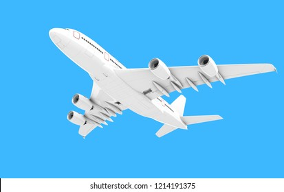 Airplane isolated on blue background. Front bottom view. Left side view. Flying from right to left. 3D illustration.