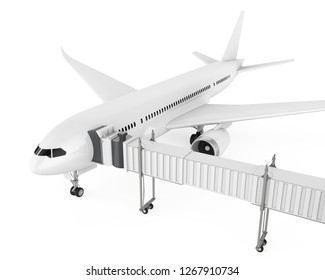 Airplane with Jet Bridge Isolated. 3D rendering