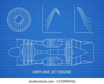 Airplane jet engine with turbine blueprint design. Illustration of air engine and turbine plan drawing blueprint