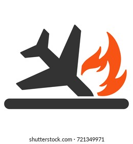 Airplane Landing Crash flat raster icon. An isolated illustration on a white background.