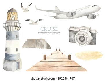 Airplane, lighthouse, pier, camera, seagulls. Watercolor set of sea cruise. Hand drawn clipart