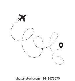 Airplane line path icon of air plane flight route with start point and dash line trac. illustration