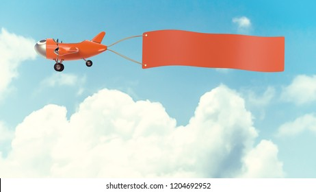 Airplane model orange  color with empty banner mock-up for your text on cloud and sky background, vintage style 3D render.