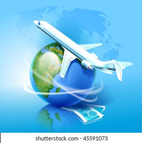 Airplane moving around the globe with air tickets