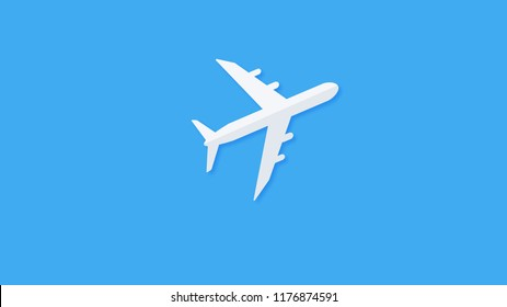 airplane on a blue background. concept of plane travel. Empty space for text.