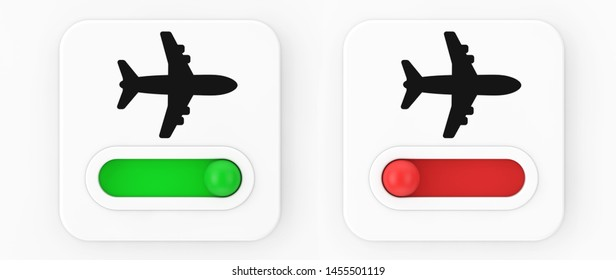 Airplane On Off Mode Toggle Switch Icon on a white background. 3d Rendering