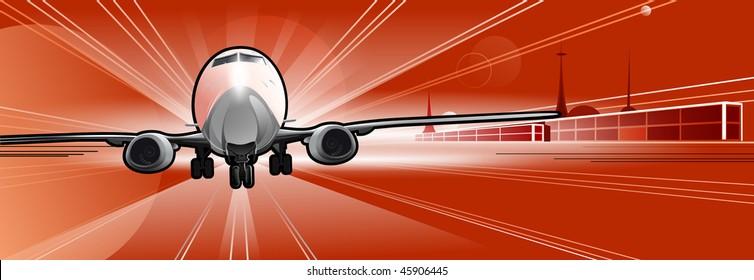 Airplane on the runaway