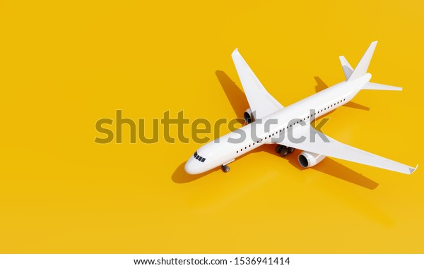 Airplane on yellow background. travel concept. 3d rendering