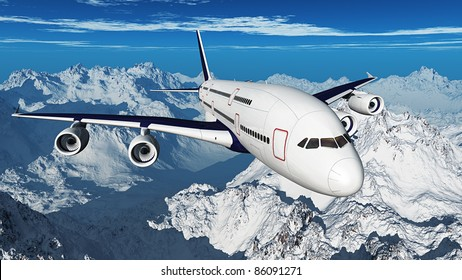 Airplane over the mountains ( 3D rendering )