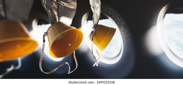 Airplane oxygen masks / 3D rendering, illustration
