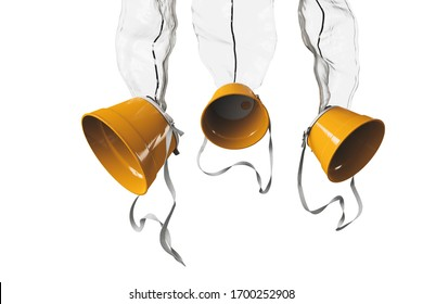 Airplane oxygen masks isolated on a white background. 3D rendering, illustration