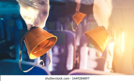 Airplane oxygen masks with lens flare. 3D rendering, illustration