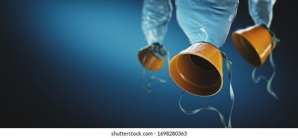 Airplane oxygen masks on a blue background. 3D rendering, illustration