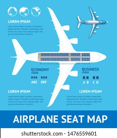 Airplane Plan Seat Map Card Place for Your Text Project Structure of Aviation Jet. illustration of Plane
