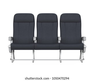 Airplane Seats Isolated (front view). 3D rendering