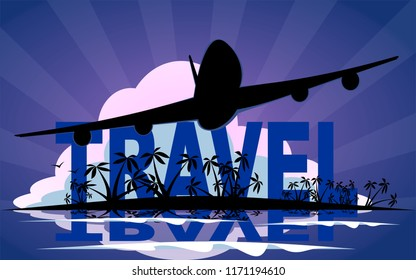 Airplane silhouette flying over tropical paradise holiday vacation poster