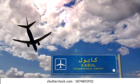 Airplane silhouette landing in Kabul, Afghanistan. City arrival with international airport direction signboard and blue sky in background. Travel, trip and transport concept 3d illustration.