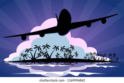 Airplane silhouette leaving tropical vacation spot with palm trees and ocean