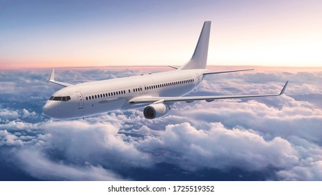airplane in the sky, 3d rendering