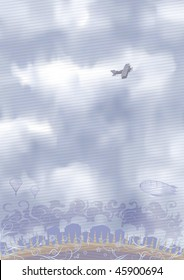 Airplane in the sky (inspired by Antoine de Saint-Exupery's books)