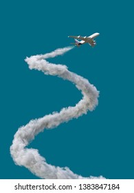 airplane with spiral trail, 3d illustration