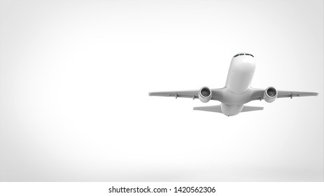 airplane take off front right 3d rendering