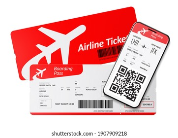 Airplane tickets and mobile boarding pass 3D illustration
