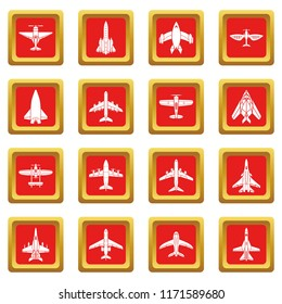 Airplane top view icons set red square isolated on white background