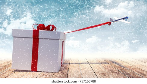 Airplane toy pulling huge white Christmas present 3D Rendering, 3D Illustration