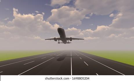 Airplane Transportation Jet 3D Rendering