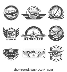 Airplane vintage isolated label set illustration. Wind riders show and best pilot symbols. Airplane academy and flying club sign. Air travel and plane tours logo. Propeller aircrafts concept