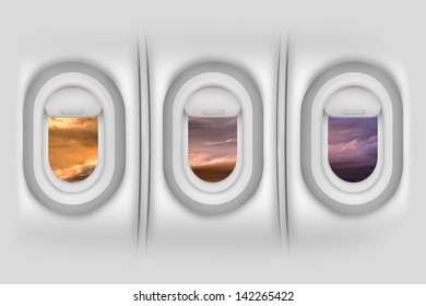 Airplane Windows / Porthole - Aircraft Side Passengers Windows From Inside. Beautiful Sunset Outside. Airplanes / Flight Illustration. Detailed Illustration - Wall Material Texture.