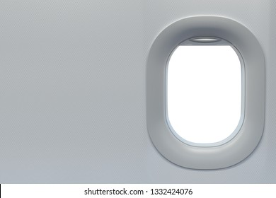 Airplane windows. Travel and tourism fliight concept. Space for text. 3d illustration