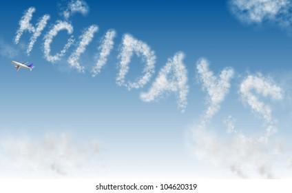 an airplane writing a word holidays on the sky / holidays