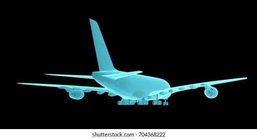 Airplane. Xray image isolated on black. 3d illustration