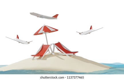 airplanes lonely dream island with deck chairs in the sand 3d-illustration