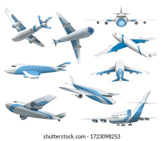 Airplanes on white background. Airliner in top, side, front view and isometric.  realistic aircraft. Passenger plane, sky flying aeroplane and airplane in different views