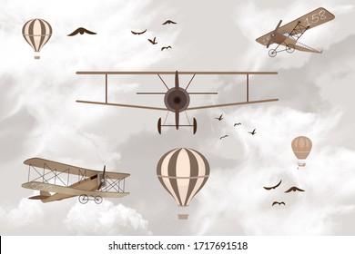 aviones en el cielo papel tapiz para niños