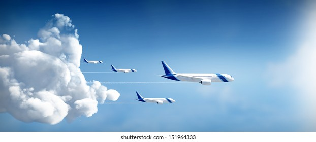 Airplanes travel in different destinations in widescreen side view