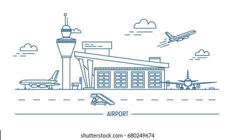 Airport, aircraft. Lineart black and white illustration with air terminal and airplanes.