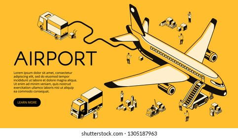 Airport and airplane preparation before or after flight illustration. Passenger plane on fueling with boarding stairs and freight logistics in isometric line on yellow halftone design