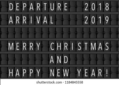 Airport Announcement Flip Mechanical Timetable with Hapy Merry Christmas and Happy New 2019 Year Sign extreme closeup. 3d Rendering