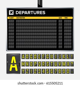 Airport Board. Mechanical flip airport scoreboard. Black airport and railway timetable departure or arrival. Destination airline board abc. airport board