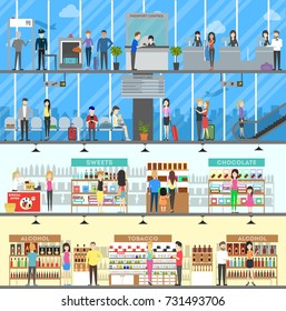 Airport Duty Free. Set of airport shop and luggae check illustrations.