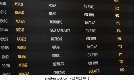 Airport flight information board or display. On time status, delayed signs. Different cities and destinations from all over the world. Plane numbers or identificators. 3D Render concept