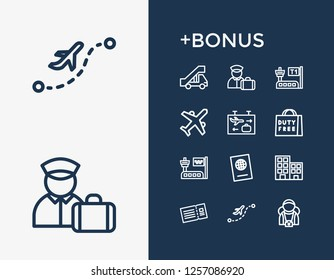 Airport icon set and travel passport with plane, duty free and tourist. Ticket related airport icon  for web UI logo design.